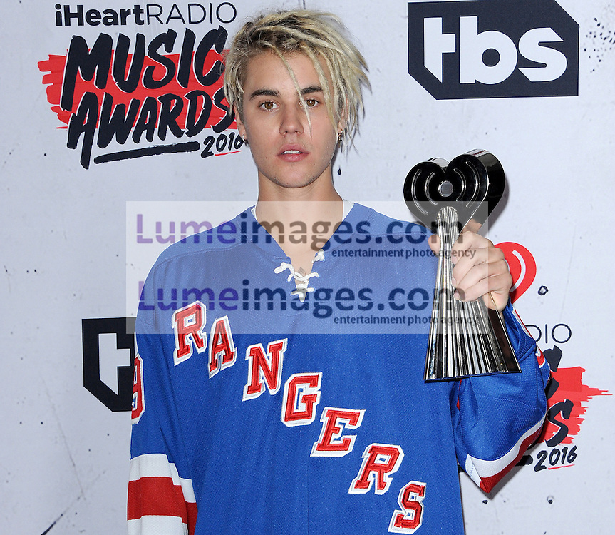 Justin Bieber at the 2016 iHeartRadio Music Awards - Press Room held at the Forum in Inglewood, USA on April 3, 2016.