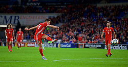 CARDIFF, WALES - Thursday, September 6, 2018: Wales' Connor Roberts scores the fourth goal during the UEFA Nations League Group Stage League B Group 4 match between Wales and Republic of Ireland at the Cardiff City Stadium. (Pic by Paul Greenwood/Propaganda)