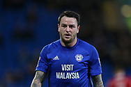 Lee Tomlin of Cardiff City looks on.  EFL Skybet championship match, Cardiff city v Ipswich Town at the Cardiff city stadium in Cardiff, South Wales on Tuesday 31st October 2017.<br /> pic by Andrew Orchard, Andrew Orchard sports photography.