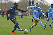 Leeds United forward Henri Kumwenda scores a goal 2-0 during the U18 Professional Development League match between Coventry City and Leeds United at Alan Higgins Centre, Coventry, United Kingdom on 13 April 2019.