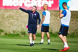 Matjaz Kek, coach and Aljaz Struna of Slovenia national football team during practice session, on June 3, 2019 in Kranjska Gora, Slovenia. Photo by Peter Podobnik/ Sportida