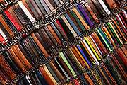 Italian leather belts on display, Florence, Italy.