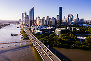 Aerial view of Riverside Expressway, Captain Cook Bridge, Brisbane city, Queensland, Australia
