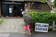 A elderly voter arrives for the UK 2017 general elections outside the polling station at St. Barnabas Parish Hall in Dulwich Village  on 8th June 2017, in London, England.