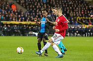 Manchester United defender Luke Shaw (23) crosses the ball during the Europa League match between Club Brugge and Manchester United at Jan Breydel Stadion, Brugge, Belguim on 20 February 2020.