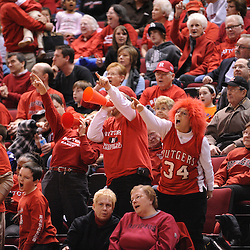 Jan 31, 2009; Piscataway, NJ, USA; Fans cheer a confirmed three point review on a shot by Rutgers guard Brittany Ray (35) to tie the game during the final minute of South Florida's 59-56 victory over Rutgers in NCAA women's college basketball at the Louis Brown Athletic Center