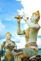 The classical Thai Poet, Sunthorn Phu set part of his epic work, Phra Aphai Mani on the shores of the island.[ Statues of the title character, Prince Aphai Mani and the mermaid which guided him to Ko Samet can be found on the Hat Sai Kaeo beach.