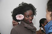 Jennifer Ewah, Yinka Shonibare MBE, Flower Time. Private view at the Stephen Friedman Gallery.  Old Burlington St.  London 30 November 2006.   ONE TIME USE ONLY - DO NOT ARCHIVE  © Copyright Photograph by Dafydd Jones 248 CLAPHAM PARK RD. LONDON SW90PZ.  Tel 020 7733 0108 www.dafjones.com