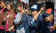 Scouts recite the pledge during a groundbreaking ceremony at Garden Oaks Montessori, February 17, 2017.