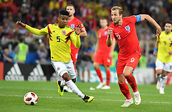England's Harry Kane and Colombia's Wilmar Barrios during the FIFA World Cup 2018 1/8 final Colombia v England game at the Spartak Stadium, Moscow, Russia, on July 3, 2018. Photo by Christian Liewig/ABACAPRESS.COM