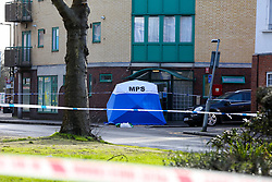 © Licensed to London News Pictures. 23/02/2021. London, UK. Police tent on West Green Road in Tottenham, north London after a fatal stabbing of a man, believed aged in his 20s. Police were called at approximately 16:00hrs on Monday, 22 February to reports of a man, been stabbed. Officers and London Ambulance Service attended but despite the efforts of the emergency services, he was pronounced dead at the scene. Anas Mezenner, 17, was murder not far from the crime scene on 19 January. Photo credit: Dinendra Haria/LNP