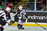 KELOWNA, CANADA - MARCH 16: Dawson Holt #19 of the Vancouver Giants catches a puck in mid air against the Kelowna Rockets  on March 16, 2019 at Prospera Place in Kelowna, British Columbia, Canada.  (Photo by Marissa Baecker/Shoot the Breeze)