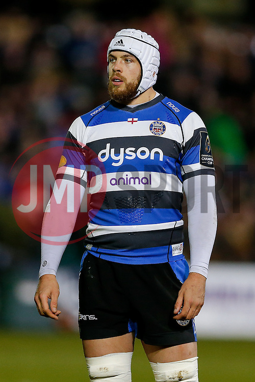 Bath Lock Dave Attwood looks on - Photo mandatory by-line: Rogan Thomson/JMP - 07966 386802 - 12/12/2014 - SPORT - RUGBY UNION - Bath, England - The Recreation Ground - Bath Rugby v Montpellier Herault Rugby - European Rugby Champions Cup Pool 4.
