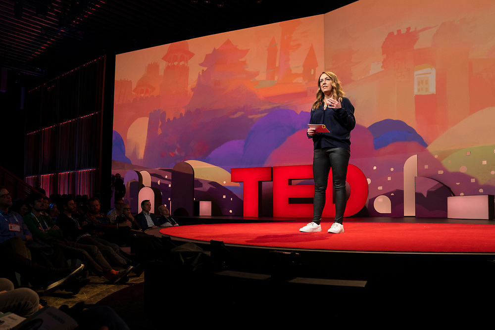 Host Kelly Stoetzel at TED2019: Bigger Than Us. April 15 - 19, 2019, Vancouver, BC, Canada. Photo: Bret Hartman / TED