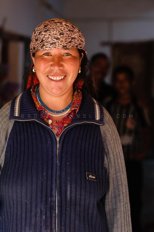 Ladakhi woman and her husband and son in Lamayuru, Ladakh, India