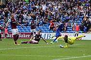 John Terry, the Aston Villa captain (l) looks on dejected as Nathaniel Mendez-Laing of Cardiff city © celebrates after he scores his teams 3rd goal  EFL Skybet championship match, Cardiff city v Aston Villa at the Cardiff City Stadium in Cardiff, South Wales on Saturday 12th August 2017.<br /> pic by Andrew Orchard, Andrew Orchard sports photography.