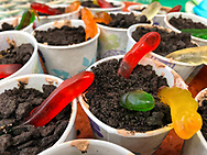 """Manhasset, New York, U.S. April 8, 2018. For """"Going Green"""" themed Reception, """"Worms in Dirt"""" individual desserts are made from chocolate and Gummy Worms, at The Art Guild exhibition held at Elderfields Preserve."""