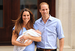 File photo dated 23/07/13 of the Duke and Duchess of Cambridge leaving the Lindo Wing of St Mary's Hospital in London, with their newborn son, Prince George of Cambridge. The Duchess of Cambridge will have spent a decade as an HRH when she and the Duke of Cambridge mark their 10th wedding anniversary on Thursday. Issue date: Wednesday April 28, 2021.