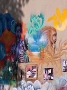 Decorated walls at the Canal Saint Martin, Paris, France