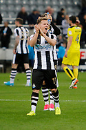 Newcastle United midfielder Matt Ritchie (11) celebrates  during the EFL Sky Bet Championship match between Newcastle United and Burton Albion at St. James's Park, Newcastle, England on 5 April 2017. Photo by Richard Holmes.