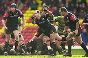 Watford, GREAT BRITAIN, 15th Feburary 2004, Vicarage Road, ENGLAND. [Mandatory Credit: Photo  Peter Spurrier/Intersport Images],<br /> 15/02/2004  -  Zurich Premiership, Saracens v Northampton Saints<br /> Kryan Bracken, moves the ball out from the back of the scrum.