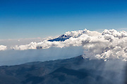 Aerial view of Popocatepetl volcano November 6, 2013 in Mexico City, Mexico