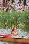Katherine Jenkins arrives by punt and sings on the Waterfront stage in front of a large crowd - The 2017 Latitude Festival, Henham Park. Suffolk 16 July 2017