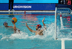 July 24, 2018 - Barcelona, Spain - Pietro Figlioli (Italy) and Petr Fedotov (Russia) during the match between Italy and Russia, corresponding to the women group stage of the European Water Polo Championship, on 19th July, 2018, in Barcelona, Spain. (Credit Image: © Joan Valls/NurPhoto via ZUMA Press)