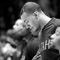 25 November 2015:  Utah Jazz center Rudy Gobert (27) is seen during the national anthem prior to the Utah Jazz 102-91 victory over the Los Angeles Clippers, at the Staples Center, Los Angeles, California, USA.