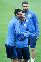Israel's Dor David Micha (l) and Almog Cohen during training session. March 23,2017.(ALTERPHOTOS/Acero)