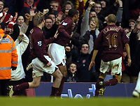 Photo: Olly Greenwood.<br />Arsenal v Liverpool. The Barclays Premiership. 12/03/2006.Arsenal's Thierry Henry celebrates scoring the winning goal