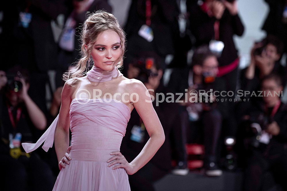 """VENICE, ITALY - SEPTEMBER 02: Lily Rose attends """"The King"""" red carpet during the 76th Venice Film Festival at Sala Grande on September 02, 2019 in Venice, Italy."""