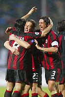 Siena 17/4/2004 Campionato Italiano Serie A <br />30a Giornata - Matchday 30 <br />Siena Milan 1-2 <br />Gennaro Gattuso (left), Massimo Ambrosini (center) and Paolo Maldini (right) celebrate the victory at the end of the matvh<br /> Foto Graffiti