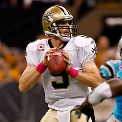 October 3, 2010; New Orleans, LA, USA; New Orleans Saints quarterback Drew Brees (9) during the first quarter against the Carolina Panthers at the Louisiana Superdome. Mandatory Credit: Derick E. Hingle