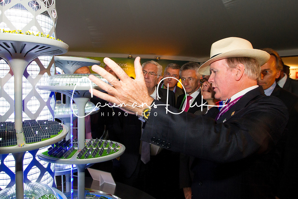 Dr. Pearse Lyons, (IRL), Founder and President of Alltecht, Beauvais Laurent, (FRA) in The Alltech Experience<br /> Alltech FEI World Equestrian Games™ 2014 - Normandy, France.<br /> © Hippo Foto Team - Leanjo de Koster<br /> 25/06/14