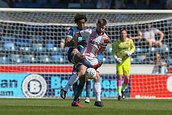 Sido Jombati of Wycombe Wanderers tackles John Goddard of Stevenage - Mandatory by-line: Jason Brown/JMP - 05/05/2018 - FOOTBALL - Adam's Park - High Wycombe, England - Wycombe Wanderers v Stevenage - Sky Bet League Two