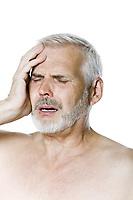caucasian man portrait headache isolated studio on white background