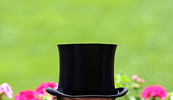 Close-up of a racegoer's top hat on day three of Royal Ascot at Ascot Racecourse.