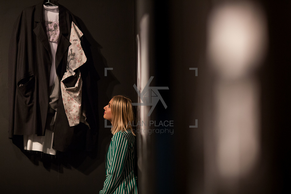 """18.05.2018.          <br /> More than 500 people attended the flagship event of the inaugural Unwrap LSAD Fashion Festival in Limerick.<br /> <br /> Graduate Kristina Finlay, Drogheda is pictured with her Design, Wear and Tear Unisex Collection.<br /> <br /> The Limerick School of Art & Design, LIT, Fashion Design Graduate Exhibition and launch of the """"The Fashion Film"""" at Limerick City Gallery of Art, in partnership with EVA International, attracted hundreds of people from the world of fashion. <br /> <br /> A total of 27 fashion graduates presented their designs alongside the specially commissioned film by fashion stylist and creative director Kieran Kilgallon and videographer Albert Hooi. Picture: Alan Place"""