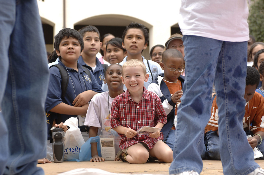 """Austin, Tx March 4, 2006: Children watch a """"Chemistry Circus"""" put on by professor Dr. David Laude as part of an open house """"Explore UT"""" at the University of Texas at Austin. <br /> ©Bob Daemmrich"""