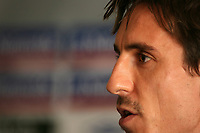 Photo: Paul Thomas.<br /> England Press Conference. 06/10/2006.<br /> <br /> Gary Neville.