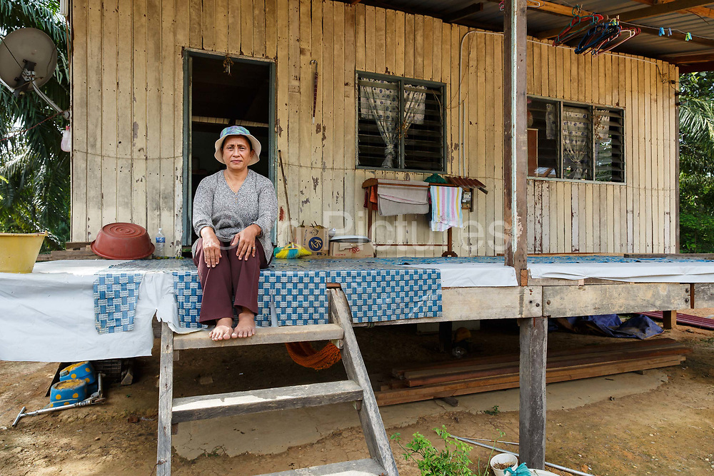 Jumatiah Binti Darmansyah - a smallholder palm oil farmer - - sits on the steps in front of her wooden home in Toniting, Beluran District, Sabah, Malaysia, on 8 September 2016. Jumatiah has been farming her small plot 1.75Ha since the 1990s. She has been able to increase her yields since becoming part of the Wild Asia Group scheme, which works with the Roundtable on Sustainable Palm Oil to support Malaysian smallholders to become certified sustainable. This includes improving farm management, reducing their use of pesticides and fertilizers, and increasing yields. Smallholders account for 40% of global palm oil production, and as such play an important role in increasing sustainability within the industry.