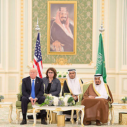 Saudi King Salman Bin Abdelaziz (or Abdul Aziz) Al Saud (right) receives US President Donald Trump and First Lady Melania in Riyadh, Saudi Arabia on May 20, 2017. This is the first US president's visit abroad. Photo by Balkis Press/ABACAPRESS.COM