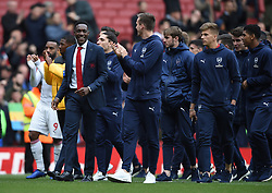 Arsenal players, including Danny Welbeck, on their lap of appreciation
