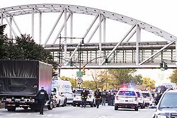 October 31, 2017 - New York, NY, U.S - The scene near where a terrorist driven truck killed people on a bike path on the west side of lower Manhattan on October 31, 2017 in New York, NY (Credit Image: © Michael Brochstein via ZUMA Wire)
