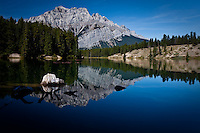 Cascade Mountain over Johnson Lake in Banff National Park.