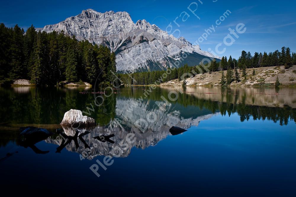 Cascade Mountain over Johnson Lake in Banff National Park.