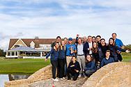 08-10-2017 - Foto van de finaledag van de Dutch Masters 2017, een European Senior Tour Event. Gespeeld op The Dutch in Spijk van 6 t/m 8 oktober.  Winnaar Clark Dennis met TIG Sports, Pieter van Doorne en Niek Molenaar