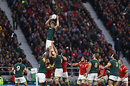 Eben Etzebeth of South Africa jumps to catch the ball in a lineout. Rugby World Cup 2015 quarter final match, South Africa v Wales at Twickenham Stadium in London, England  on Saturday 17th October 2015.<br /> pic by  John Patrick Fletcher, Andrew Orchard sports photography.