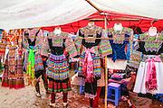 Vietnam, Bac Ha Market, Flower Hmong traditional dresses
